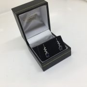 9 carat white gold Iolite and diamond drop earrings