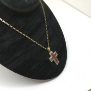 9 carat ruby and diamond cross pendant and chain