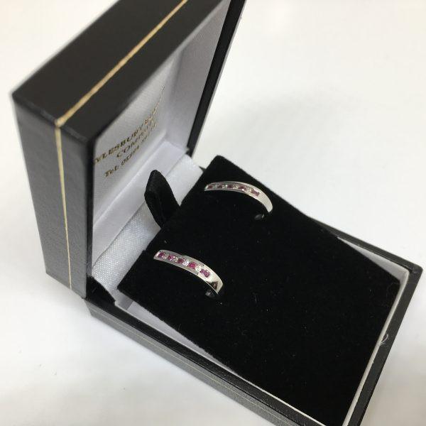 9 carat white gold ruby and and diamond earrings