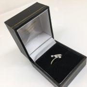 Preowned 9 carat white gold 3 stone diamond ring