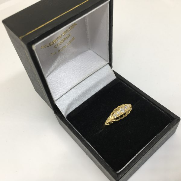 Preowned 18 carat yellow gold diamond boat ring