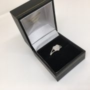 Preowned 9 carat white gold diamond heart ring