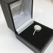 9 carat white gold opal single stone ring