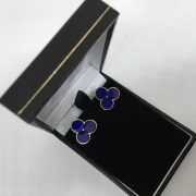 Preowned 9 carat yellow gold lapis stud earrings