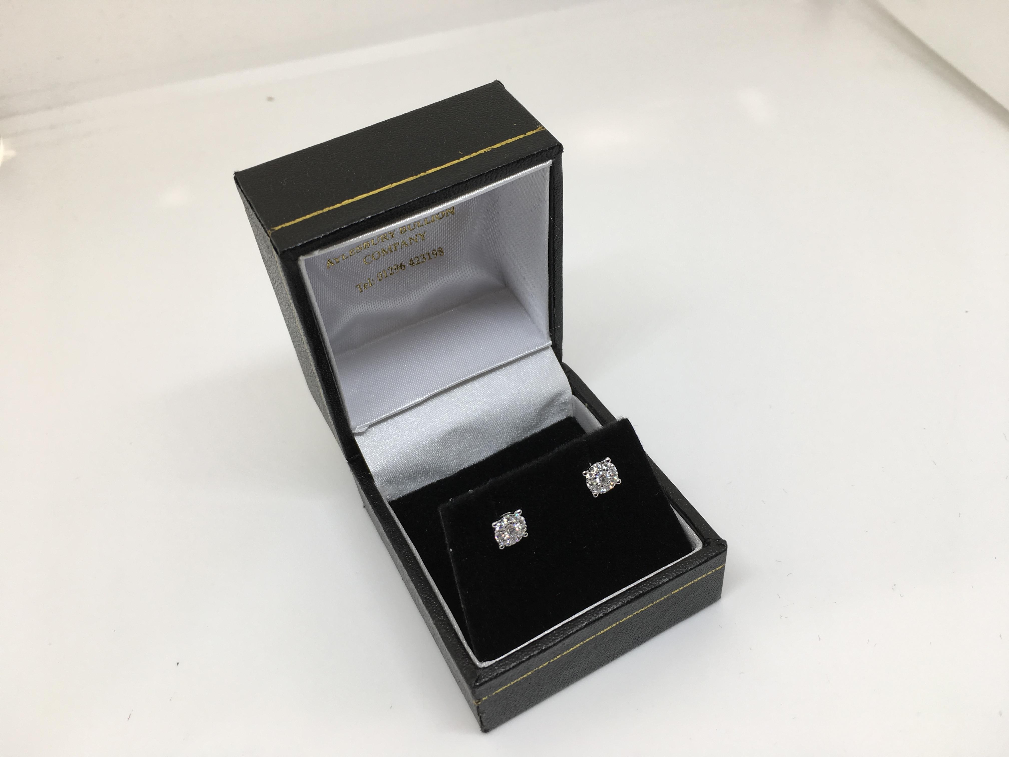 1b7f72c86 18 carat white gold diamond cluster stud earrings - Aylesbury Bullion
