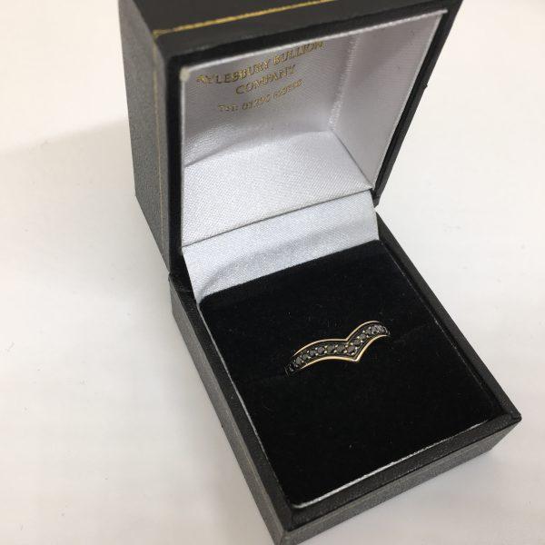 Preowned 9 carat yellow gold black diamond wishbone ring