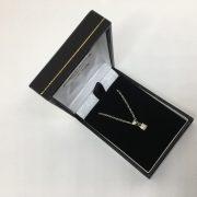 9 carat white gold diamond single stone pendant and chain
