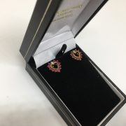 Preowned 9 carat yellow gold ruby and diamond earrings