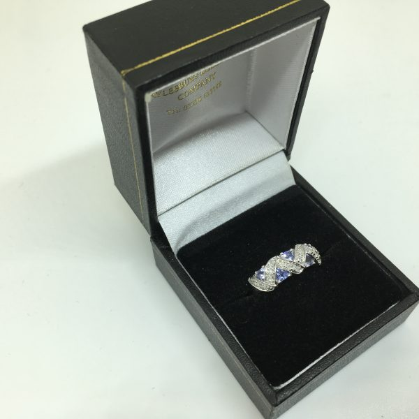 Preowned 9 carat white gold tanzanite and diamond ring