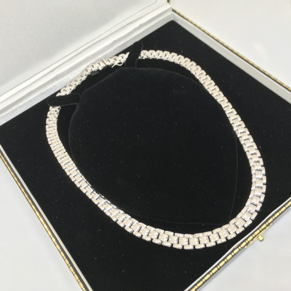 Preowned 9 carat white gold fancy linked chain