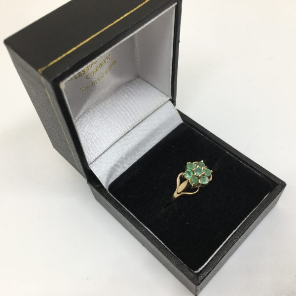 Preowned 9 carat yellow gold emerald flower ring