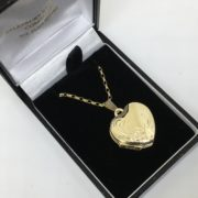 9 carat yellow gold family heart locket and chain