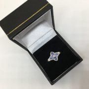 Preowned 14 carat white gold tanzanite and diamond ring