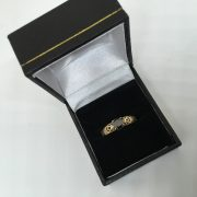 Preowned 9 carat yellow gold black diamond single stone ring