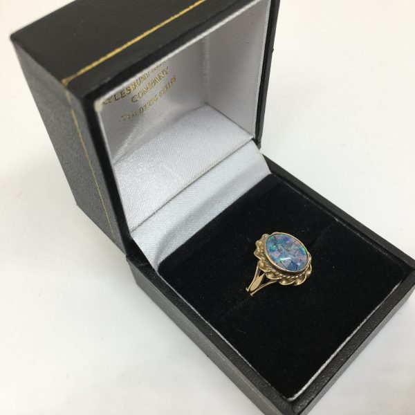 Preowned 9 carat yellow gold opal triplet ring
