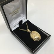 9 carat yellow gold cladder locket and chain