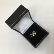 Preowned 9 carat yellow gold stone set butterfly ring