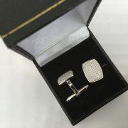 18 carat white gold diamond set cufflinks