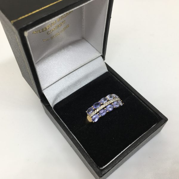 Preowned 9 carat yellow gold tanzanite and diamond ring