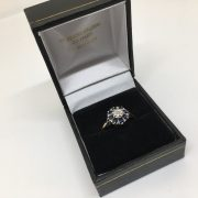 Preowned 9 carat yellow gold sapphire and diamond cluster ring