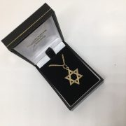 9 carat yellow gold Star of David pendant and chain
