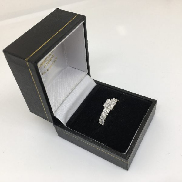 Preowned 9 carat white gold diamond cluster