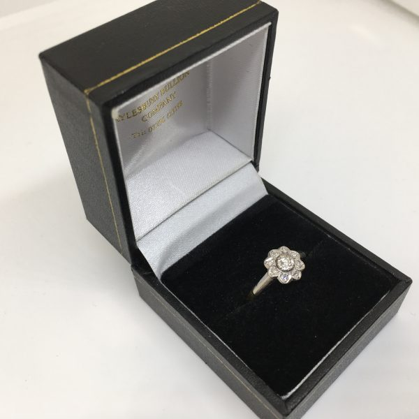 Preowned 18 carat yellow gold diamond flower ring