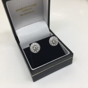 18 carat white gold diamond convertible halo earrings