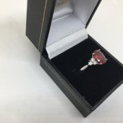 18 carat white gold ruby and diamond ring