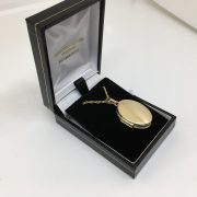 9 carat yellow gold oval family heart locket and chain