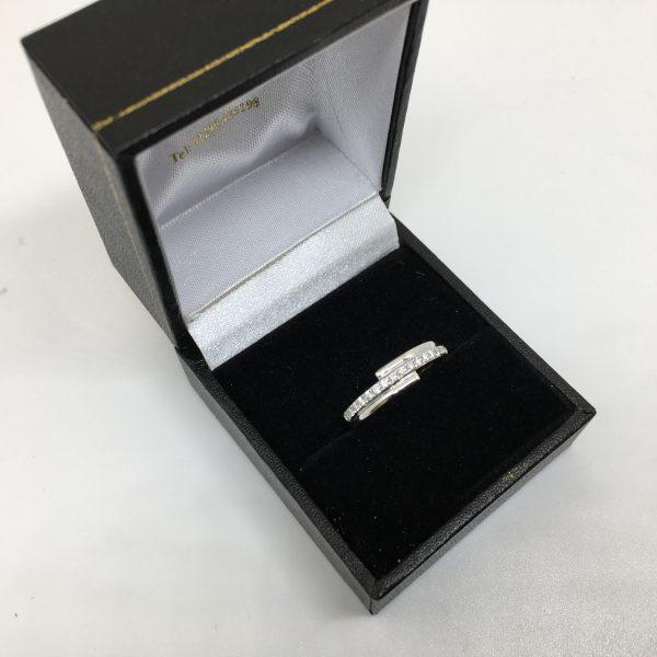 18 carat white gold fancy diamond band