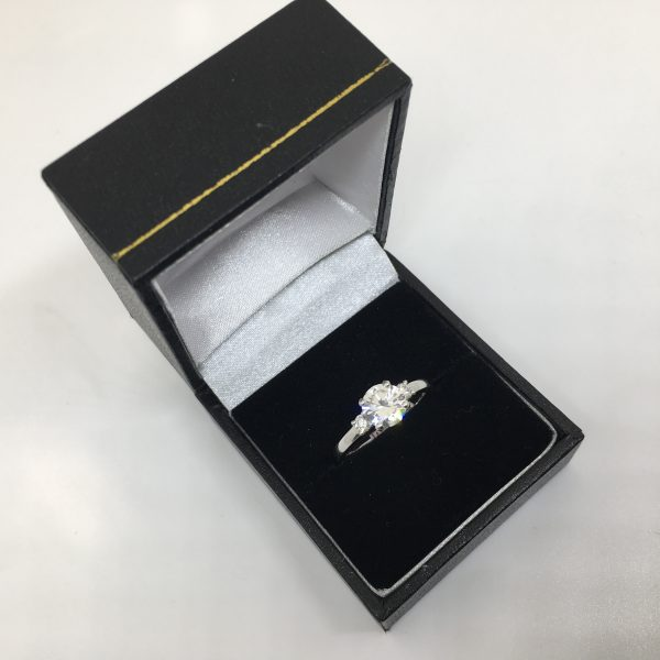 Platinum and diamond 3 stone ring