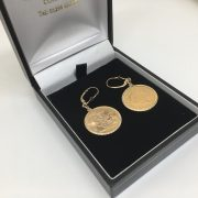 9 carat yellow gold drop earrings with 1/2 sovereigns