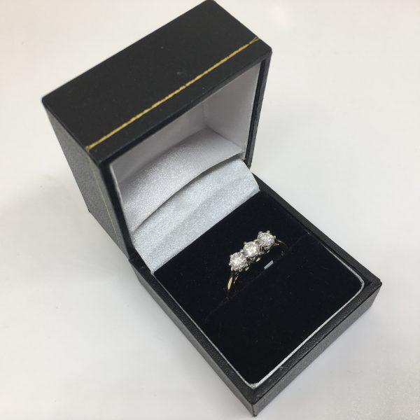 Preowned 18 carat yellow gold diamond 3 stone ring
