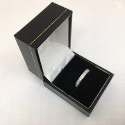 18 carat white gold 3mm diamond set brush finished band