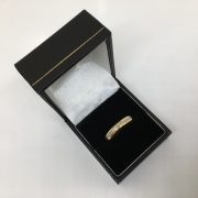 9 carat yellow gold 4mm band with 18 carat white gold strip