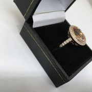 18 carat rose gold morganite beryl and diamond ring