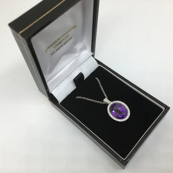 9 carat white gold amethyst and diamond pendant and chain