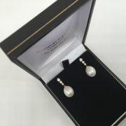 18 carat yellow gold pearl and diamond drop earrings