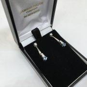 18 carat white gold aquamarine and diamond drop earrings