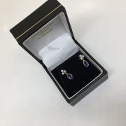18 carat 2 colour tanzanite and diamond earrings
