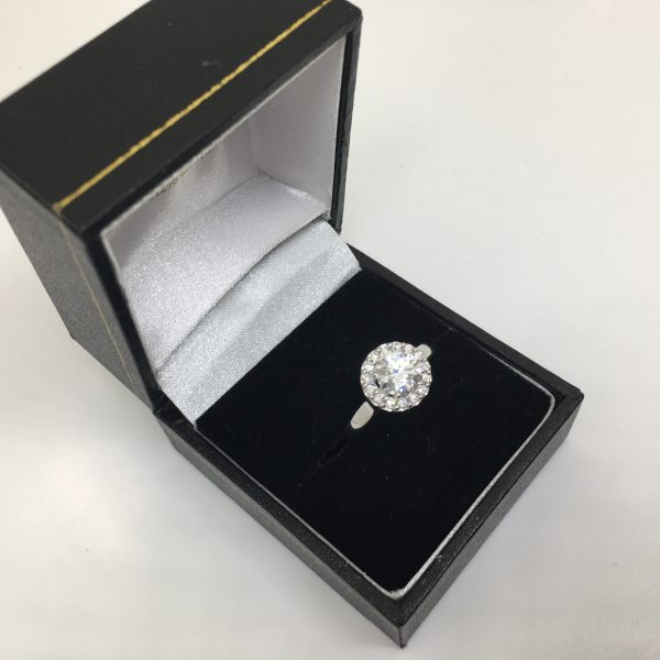 18 carat white gold diamond halo ring