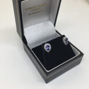 Preowned 18 carat white gold tanzanite and diamond earrings