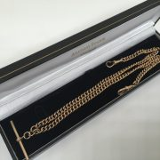 Preowned 9 carat rose gold double Albert chain