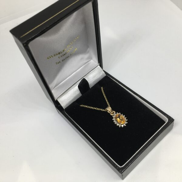 9 carat yellow gold citrine and diamond pendant and chain