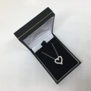 9 carat white gold CZ heart pendant and chain