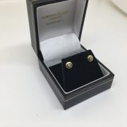 Preowned 18 carat yellow gold diamond stud earrings
