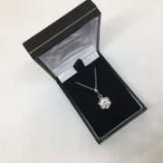 9 carat white gold CZ pendant and chain