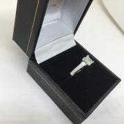 Preowned 18 carat white gold and platinum diamond single stone ring