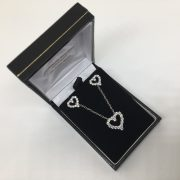 9 carat white gold CZ heart pendant, chain and earring set